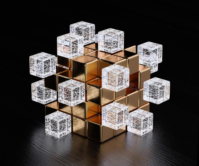 Big data blockchain concept. Blockchain digital illuminated shape transparent glass blocks boxes combines with golden big one. Big data node base concept. 3d vector illustration