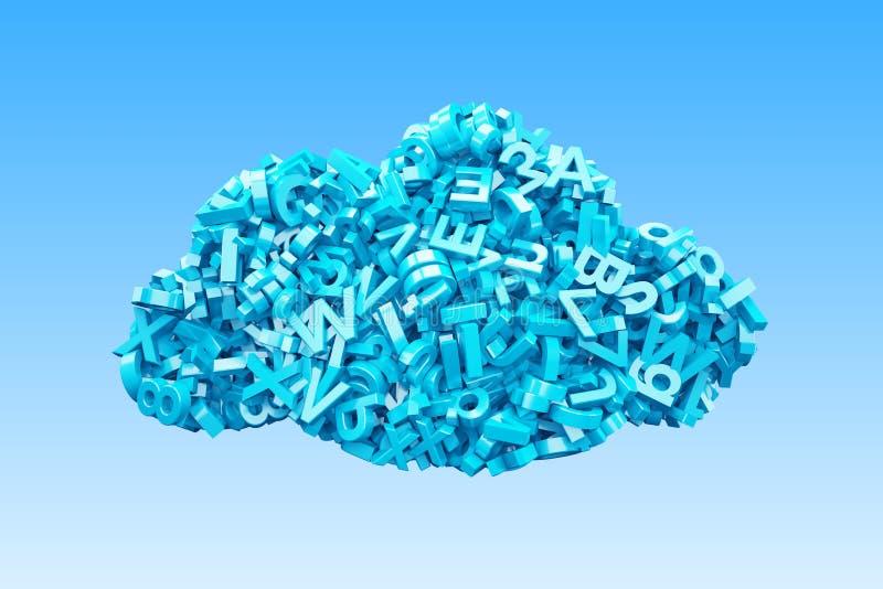 Big data. Blue characters in cloud shape. 3D illustration stock illustration