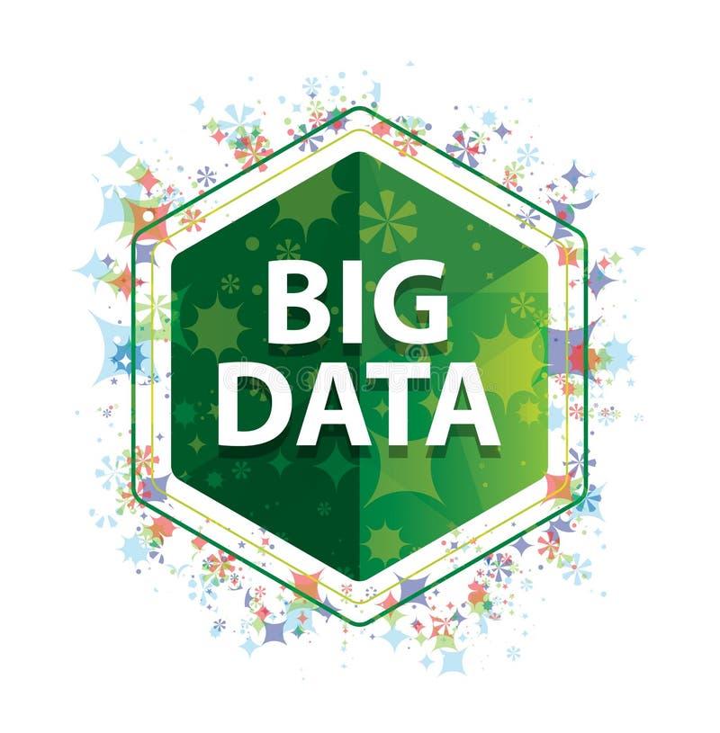 Big Data-Blumenbetriebsmustergrün-Hexagonknopf lizenzfreie abbildung