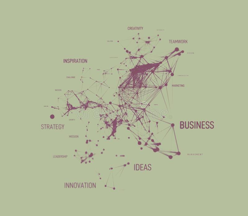 Big data business solution concept in word tag cloud with plexud dot and line connection. Geometric background. Illustration vector illustration