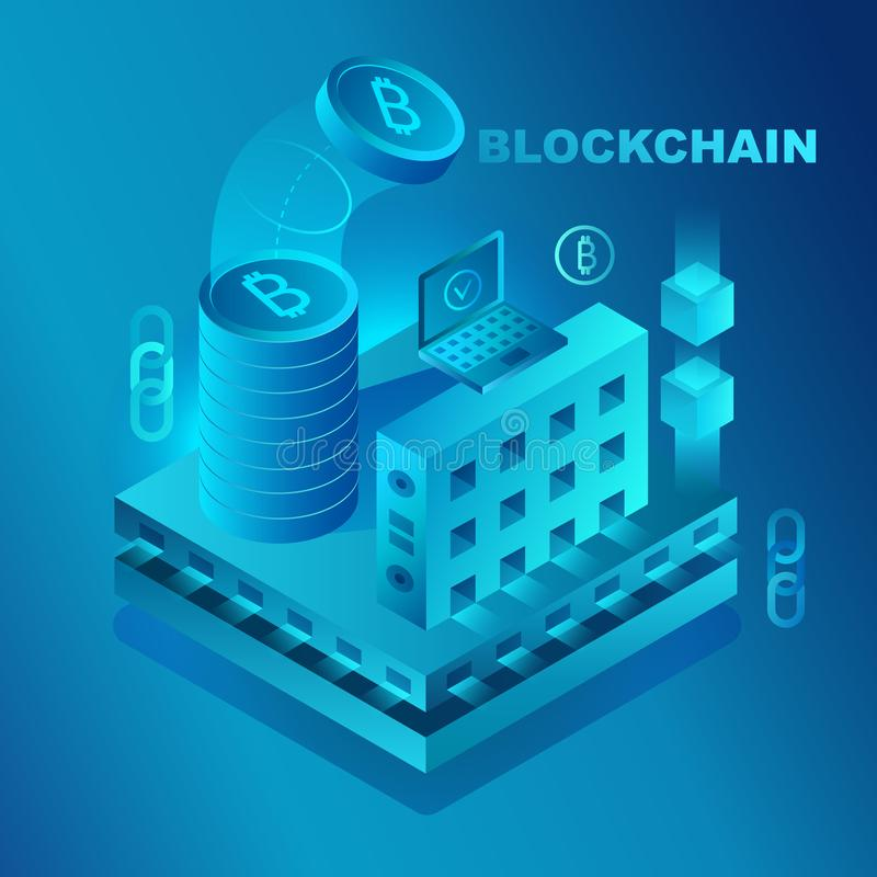Big data center, cryptocurrency and blockchain isometric composition banner template concept vector illustration. stock illustration