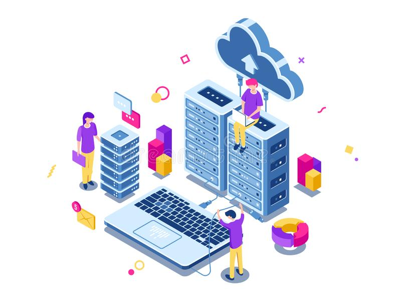 Big data center, server room rack, engineering process, teamwork, computer technology, cloud storage, command work vector illustration