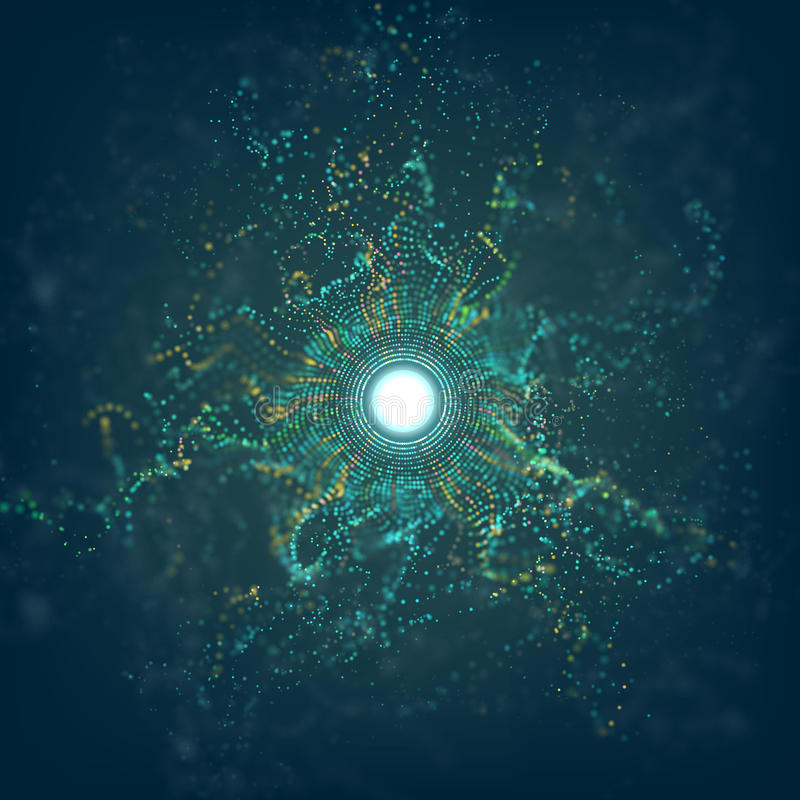 Big data circle particle grid explosion with bokeh. Ai abstract vector flare background. Futuristic dust. stock illustration