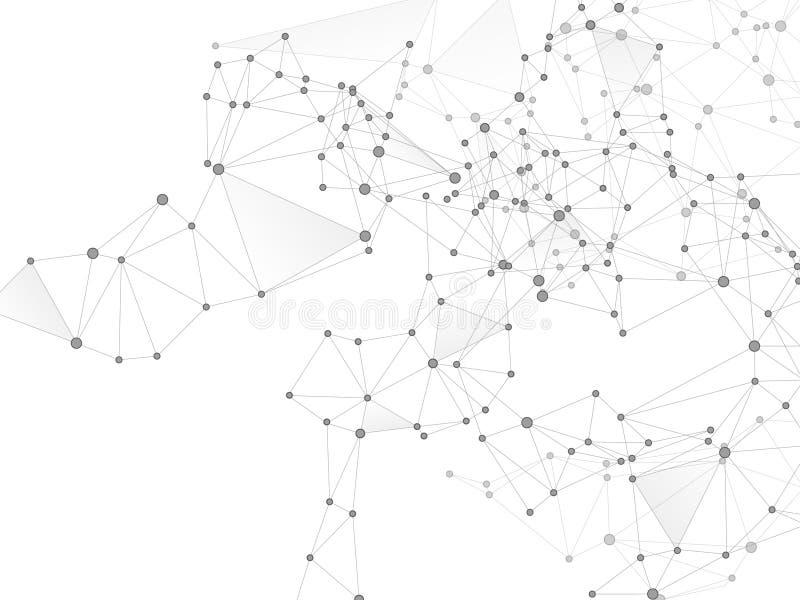 Big data cloud scientific concept. Network nodes greyscale plexus background. Interlinkes nodes cells random grid. Tech vector big data visualization cloud vector illustration