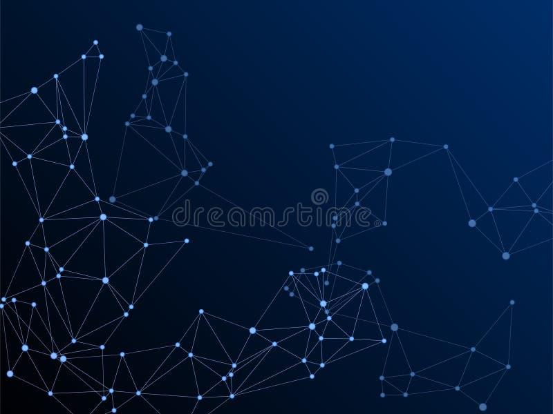 Big data cloud scientific concept. Network nodes plexus dark blue background. Fractal hub nodes connected by lines. Virtual reality polygin design. Tech vector royalty free illustration