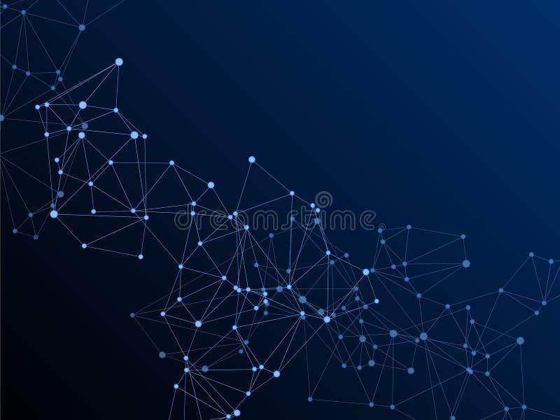 Big data cloud scientific concept. Network nodes plexus dark blue background. Tech vector big data visualization cloud structure. Linked dot nodes and lines vector illustration