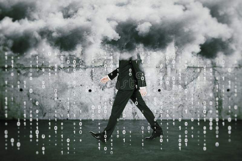 Big data cocnept with walking man under clouds and numbers rain royalty free stock photography
