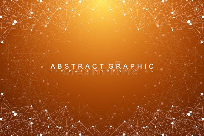 Big data complex. Graphic abstract background communication. Perspective backdrop of depth. Minimal array with compounds. Lines and dots. Digital data vector illustration