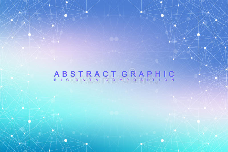 Big data complex. Graphic abstract background communication. Perspective backdrop of depth. Minimal array with compounds. Lines and dots. Digital data royalty free illustration