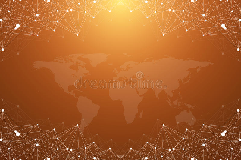 Big data complex. Graphic abstract background communication. Perspective backdrop with World Map. Minimal array with. Compounds lines and dots. Digital data stock illustration