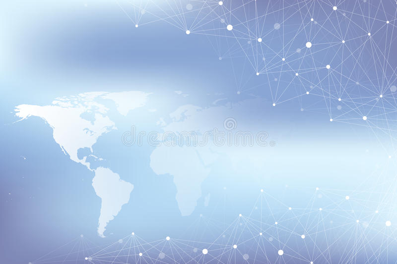 Big data complex. Graphic abstract background communication. Perspective backdrop with World Map. Minimal array with compounds lines and dots. Digital data stock illustration