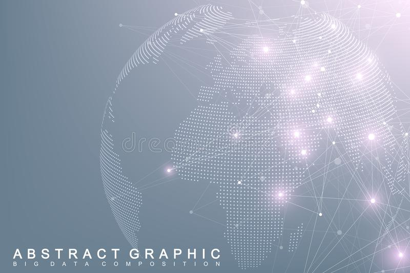 Big data complex world globe. Graphic abstract background communication. Perspective backdrop of depth. Virtual minimal. Array with compounds. Digital data royalty free illustration
