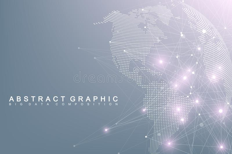 Big data complex world globe. Graphic abstract background communication. Perspective backdrop of depth. Virtual minimal. Array with compounds. Digital data stock illustration