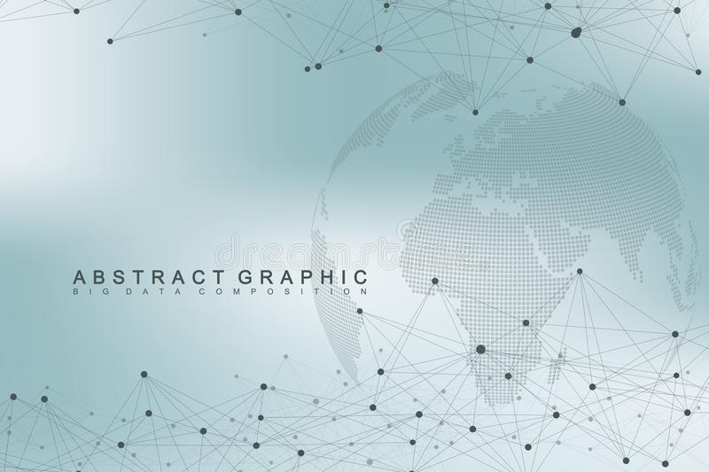 Big data complex world globe. Graphic abstract background communication. Perspective backdrop of depth. Virtual minimal. Array with compounds. Digital data vector illustration