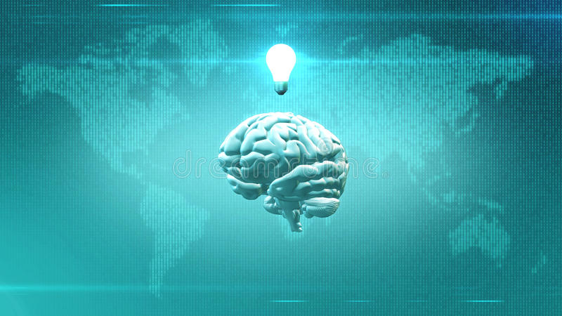Big Data concept - Brain in front of Earth illustration with lightbulb. CGI rendered brain with light bulb abovein front of digital map of the Earth royalty free illustration