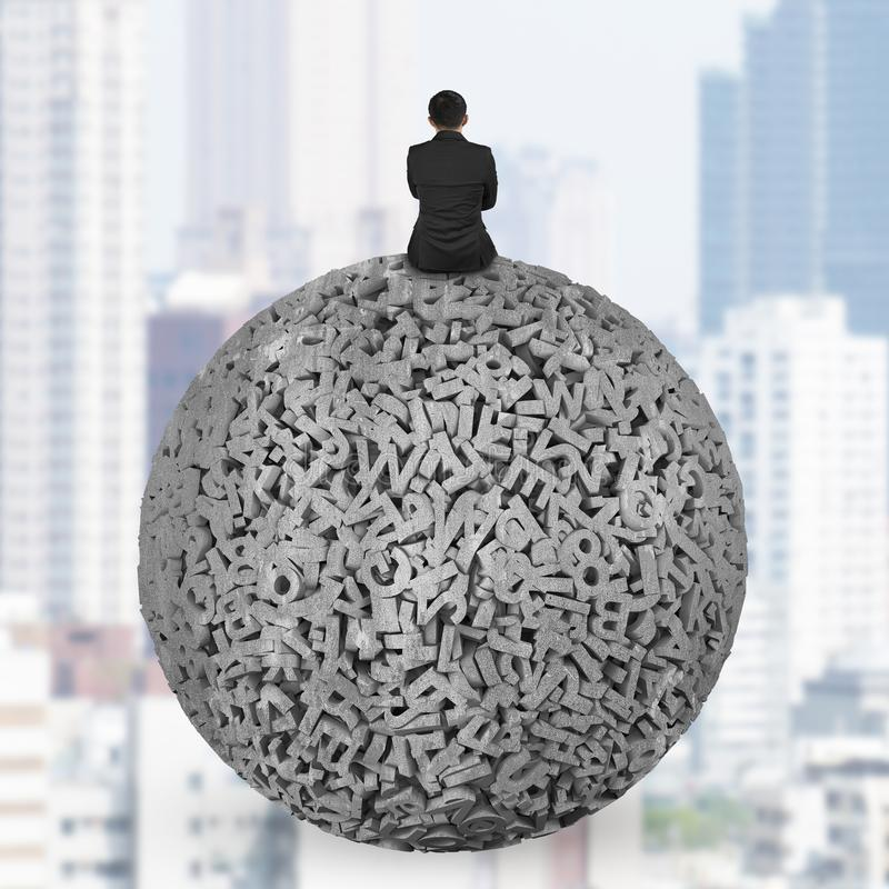 Businessman sitting on concrete ball of 3d characters big data stock photo