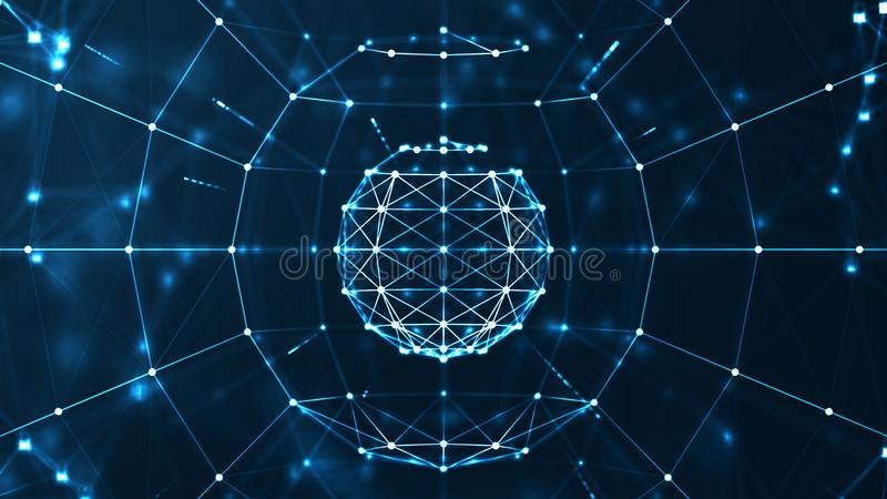 Big data concept. Big data center concept.Futuristic spherical interface. Fractal element with lines and dots.Big data connection complex. Motion graphic stock illustration