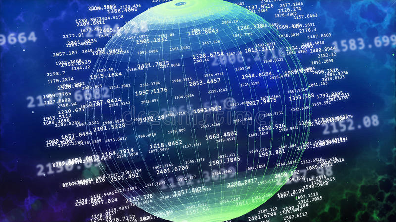 Big data concept. 3d rendering of big data concept. Abstract sphere from digital numbers stock illustration