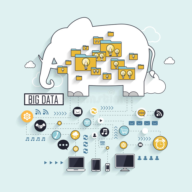 Big data concept. With elephant in line style royalty free illustration