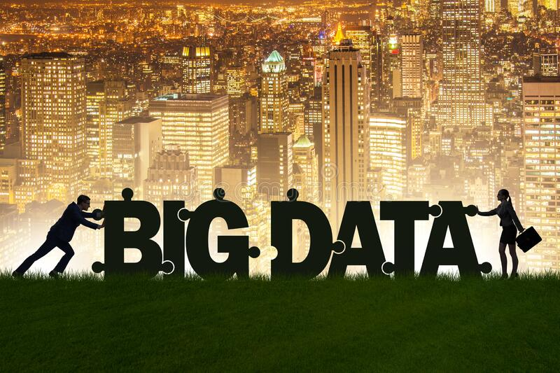 Big data concept with jigsaw puzzle pieces royalty free stock photos