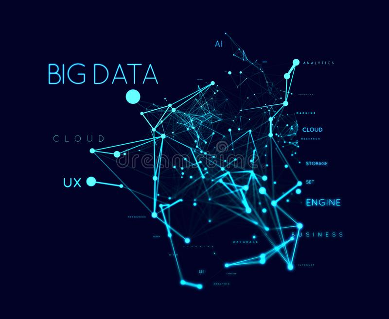Big data concept in word tag cloud with plexud dot and line connection. Geometric background royalty free illustration