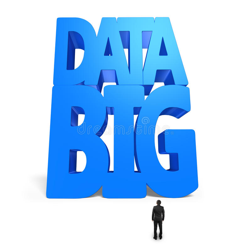 Big data 3D huge blue word with small businessman. Isolated on white stock illustration