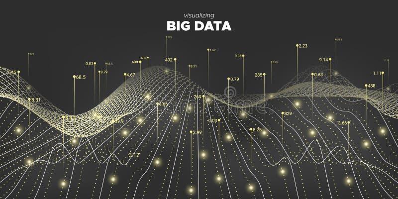 Big Data 3d. White Business Information. Matrix vector illustration