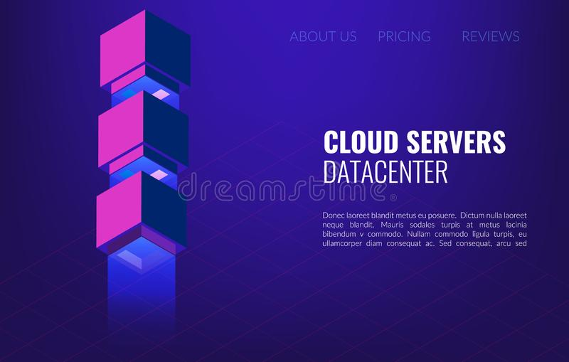 Big data Datacenter isometric concept. 3d hosting server or data center room background. royalty free stock images