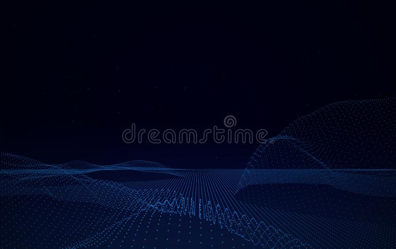 Big Data Digital Lines on Black Background. Cyberspace with digital lines Big Data Digital Lines on Black Background royalty free stock photography