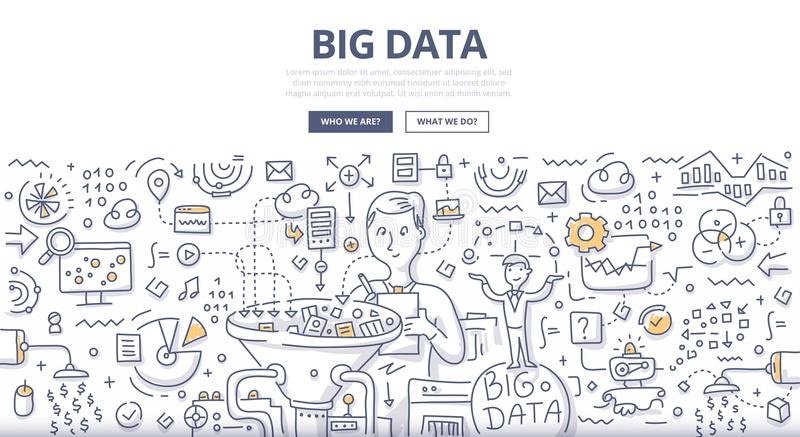 Big Data Doodle Concept stock illustration