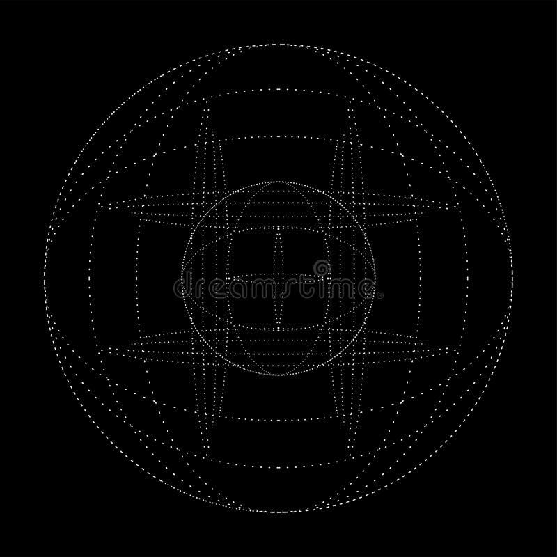 Big data dots particle tech background. Big data dots circular particle tech vector background royalty free illustration
