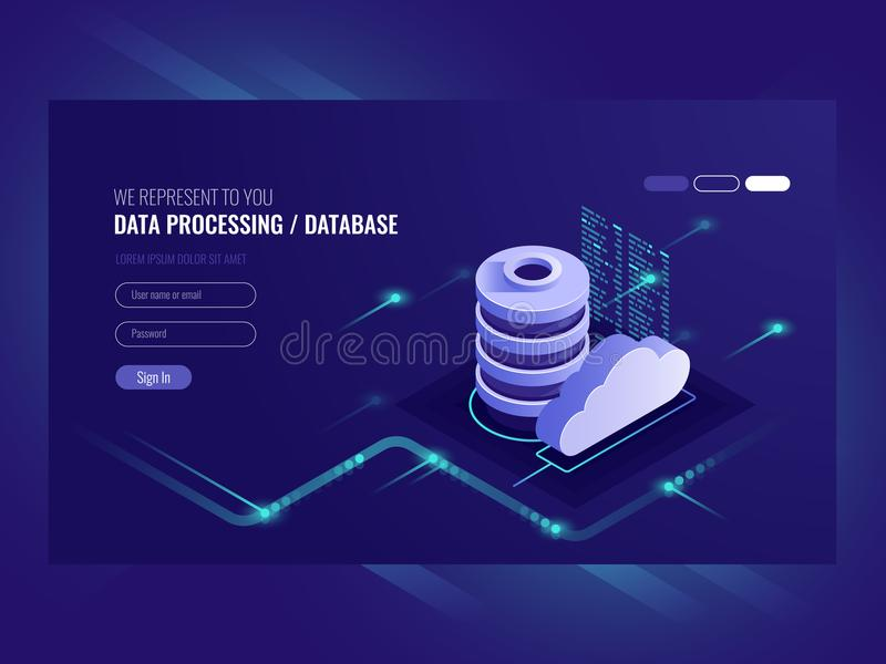 Big data flow processing concept, cloud database, isometric vector, web hosting and server room icons. Ultraviolet royalty free illustration
