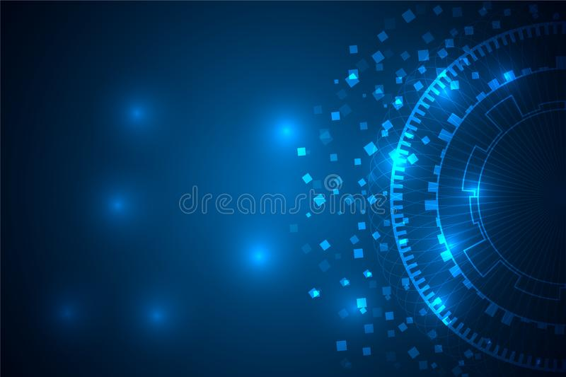Big data futuristic light with line and circle on abstract background. stock photo