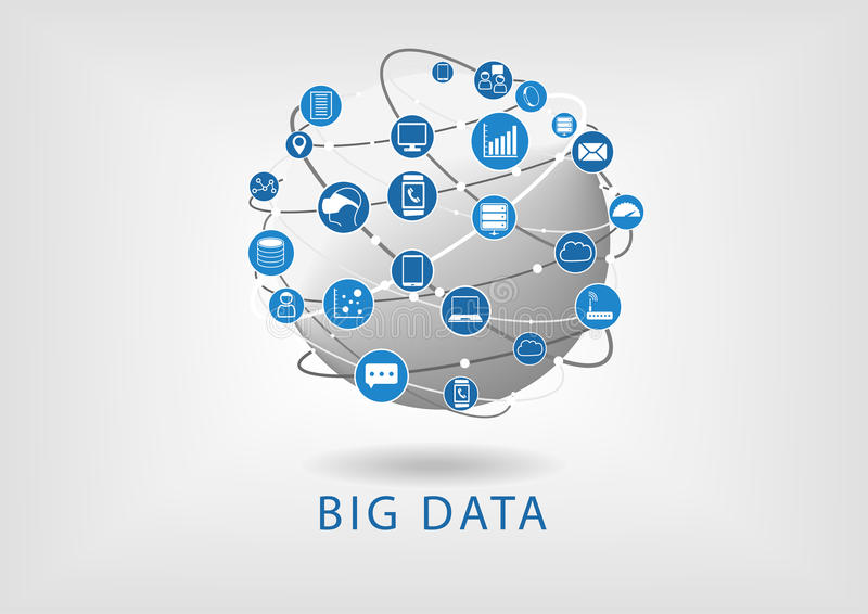 Big data and globe flat design illustration showing connectivity between different devices and information stock illustration