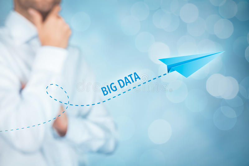 Big data growth. (big-data) concept. Businessman think about accelerating data volume (big data) represented by paper plane royalty free stock images