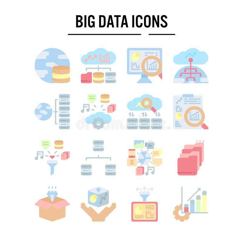 Big data icon in flat design for web design , infographic , presentation , mobile application - Vector illustration stock illustration