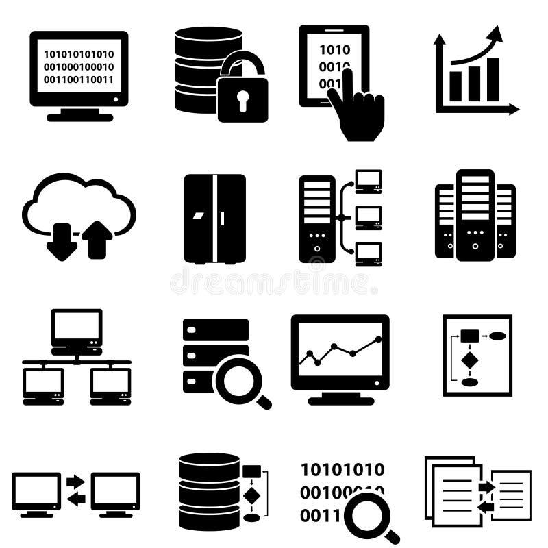 Big data icon set. Big data and technology icon set