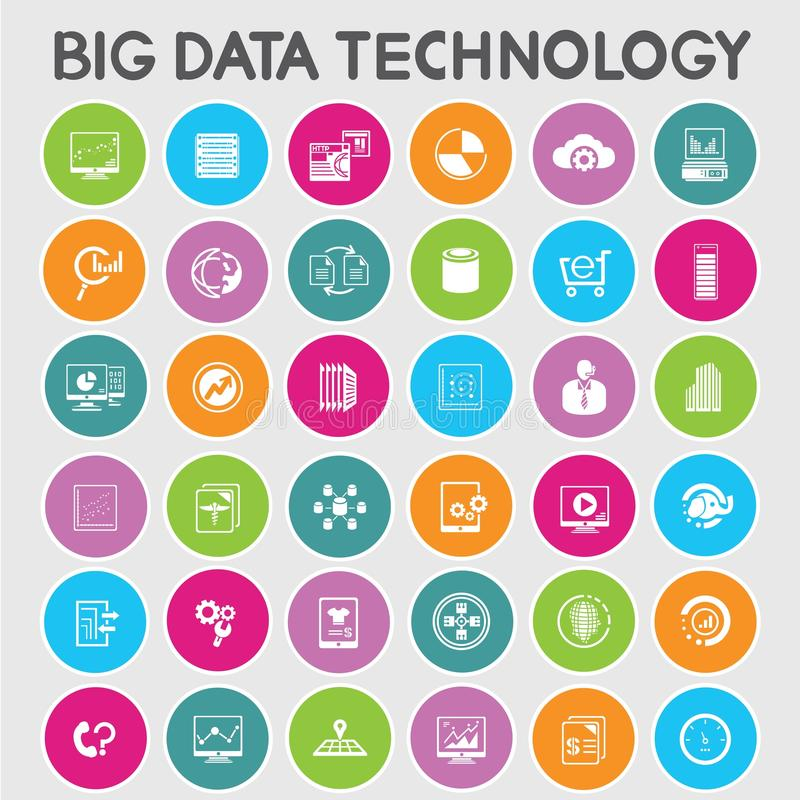 Big data icons. Big data icon set on color buttons set royalty free illustration