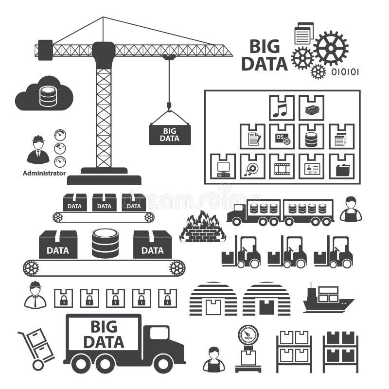 Big Data icons set, Data storage and Database vector illustration