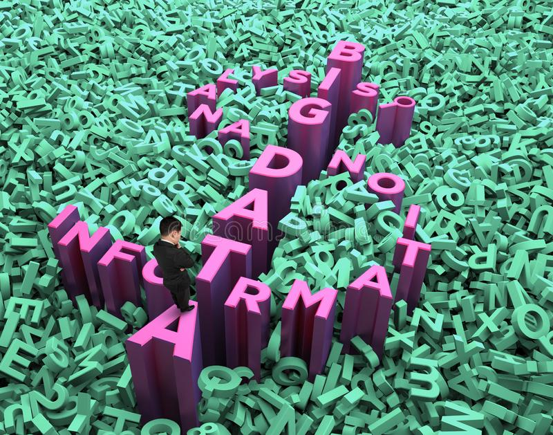 Big data, information analysis and restructuring concept, thinking man. Big data, information analysis and restructuring concept, pondering businessman standing stock photo