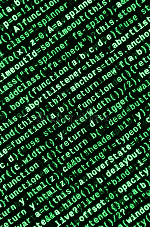 Big data and Internet of things trend. IT specialist workplace. Website HTML Code on the Laptop Display. Closeup Photo. Big data storage and cloud computing stock photo