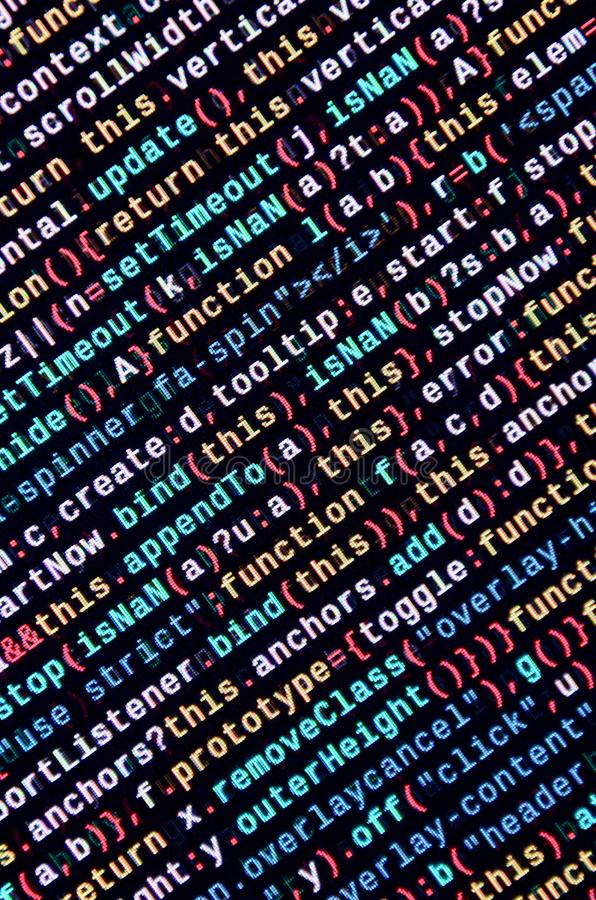 Big data and Internet of things trend. IT specialist workplace. Website HTML Code on the Laptop Display stock images