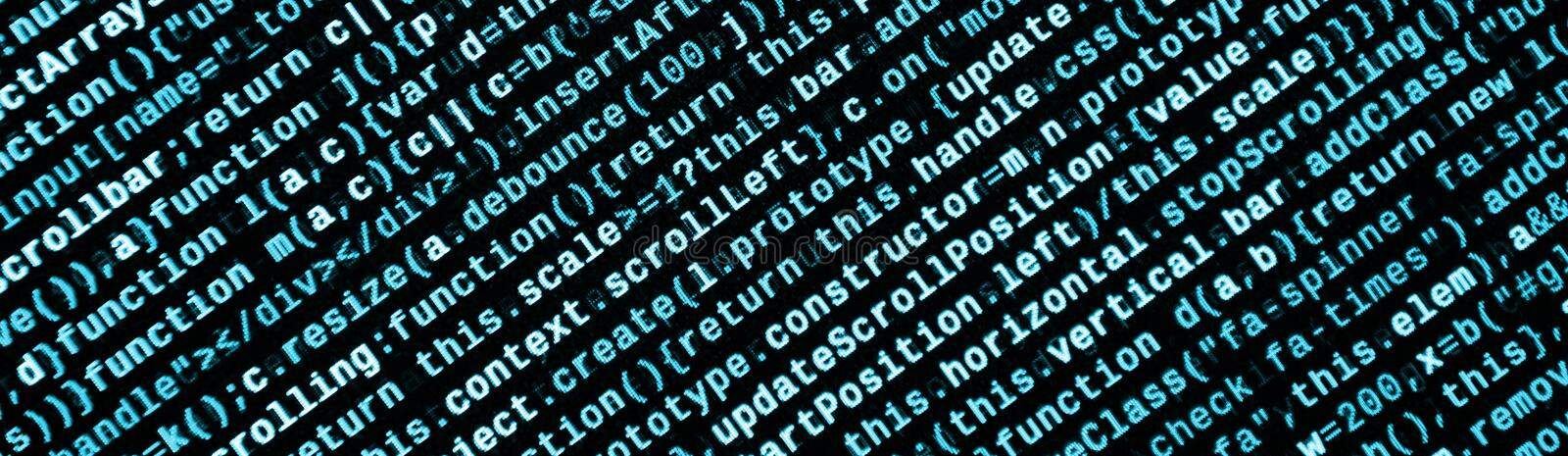 Big data and Internet of things trend. IT specialist workplace. Website HTML Code on the Laptop Display. Closeup Photo. Big data storage and cloud computing royalty free stock image