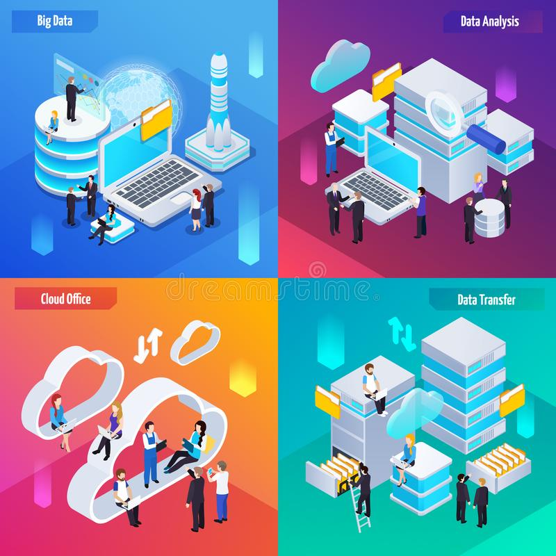 Big Data Isometric Concept royalty free illustration