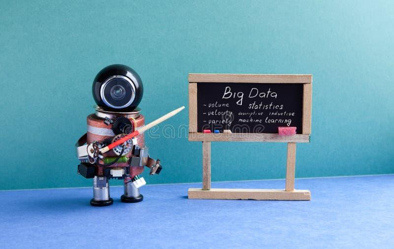 Big data machine learning concept. Futuric robot professor explains modern theory. Teacher with a pointer near. Chalkboard, main topics handwritten. Blue green stock image