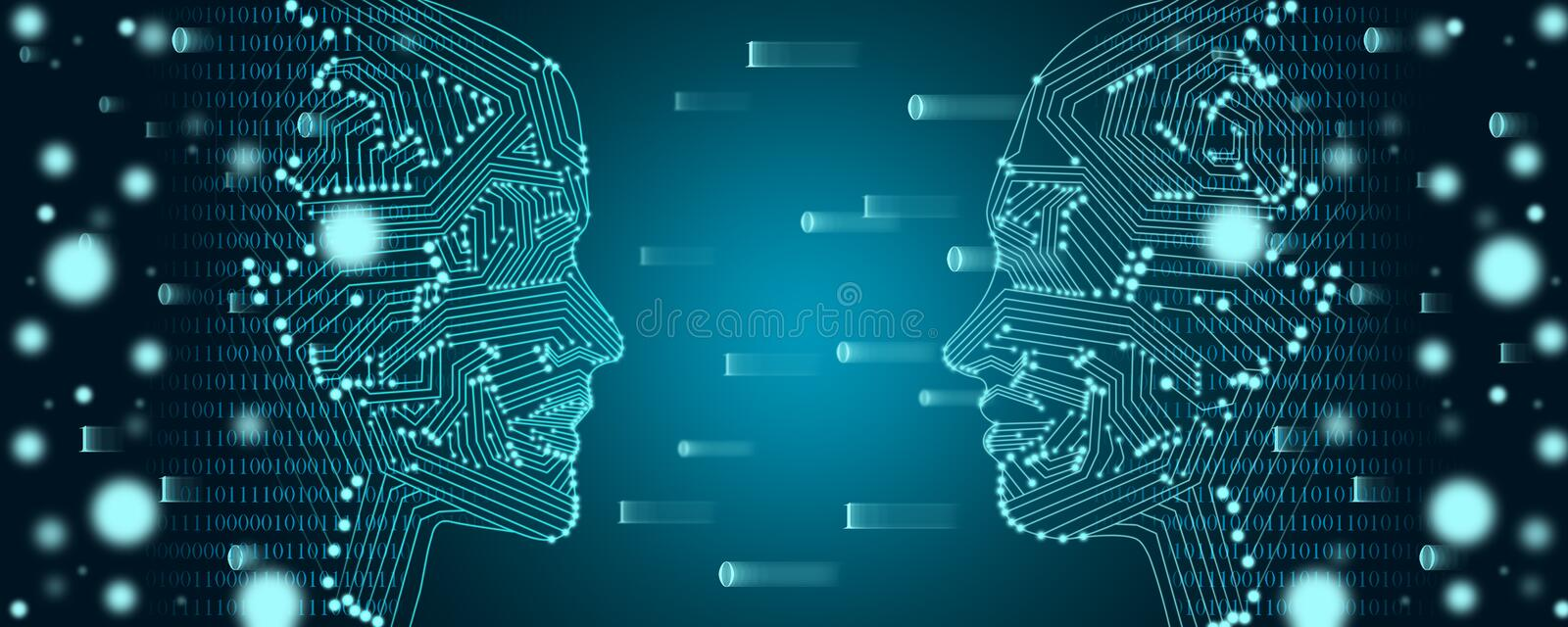 Big data and machine learning concept. Two faces outline with binary data flow on a background royalty free stock images