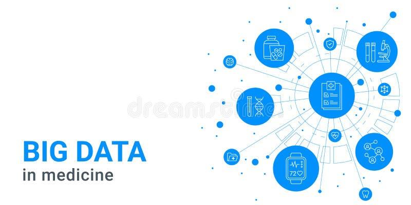 Big data in medicine -. Digital health and hospital blue background, medical icons, information technology royalty free illustration