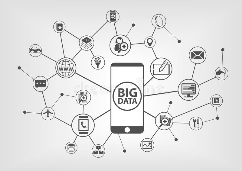 Big data and mobility concept with connected devices like smart phone. IT symbols on grey background royalty free illustration