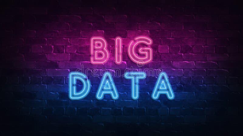 Big data neon sign, great design for any purposes. 3d render. Modern design. Retro emblem design. Slot neon sign. Decoration vector illustration