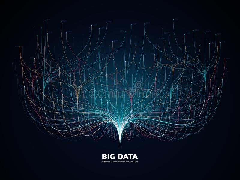 Big data network visualization concept. Digital music industry, abstract science vector background. Virtual flow big binary data visualization illustration stock illustration